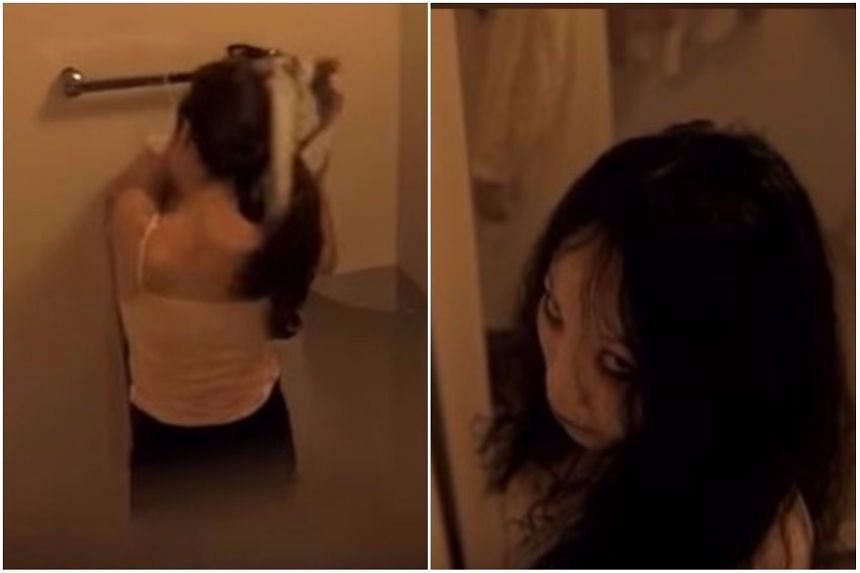 """The """"spycam"""" footage showed a woman, who appeared to be changing clothes, turn into a ghost to shock viewers."""