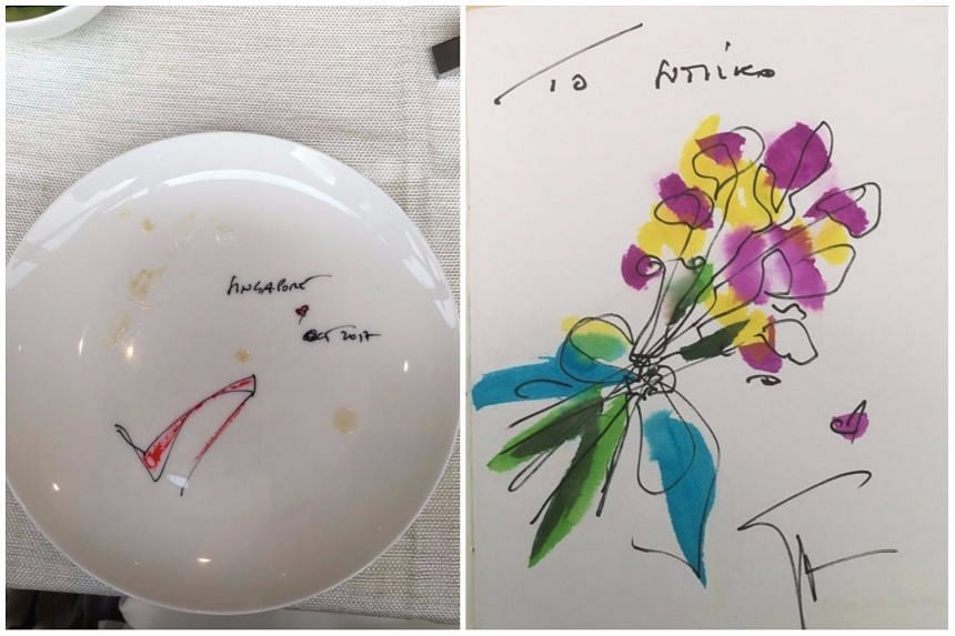 Giuseppe Zanotti's sketch of a stiletto heel on an empty plate (left) and his drawing of a bouquet of flowers on Sumiko Tan's notebook.
