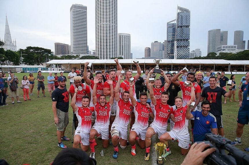 The France Development Team celebrating their first Ablitt Cup yesterday after an extra-time 24-21 victory over Fiji's Daveta at the Padang. Romaric Camou scored the decisive penalty in the first minute of extra time.