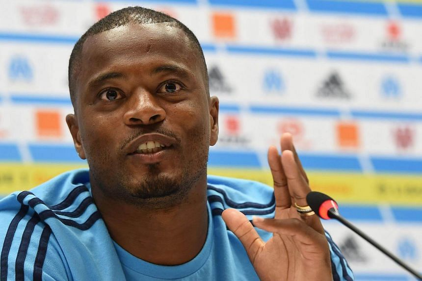 Marseille's French defender Patrice Evra holds a press conference at the Velodrome Stadium in Marseille, France.