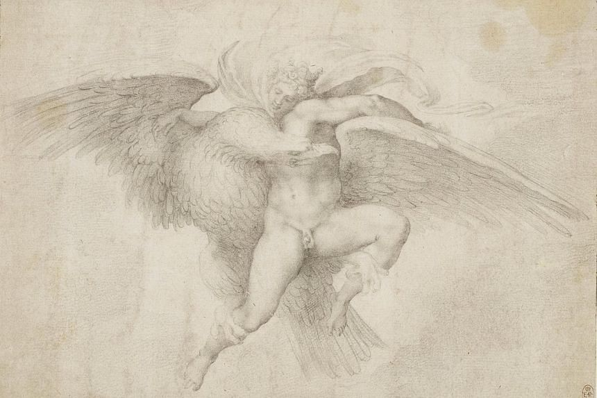 A Clovio drawing after a lost work by Michelangelo, The Rape of Ganymede.