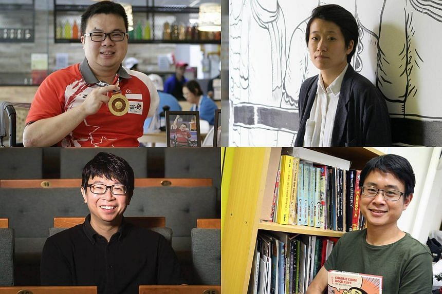 (Clockwise from top left) Jason Chee, Kirsten Tan, Sonny Liew and Wong Kah Chun, the first batch of shortlisted finalists for The Straits Times Singaporean of the Year 2017 award.