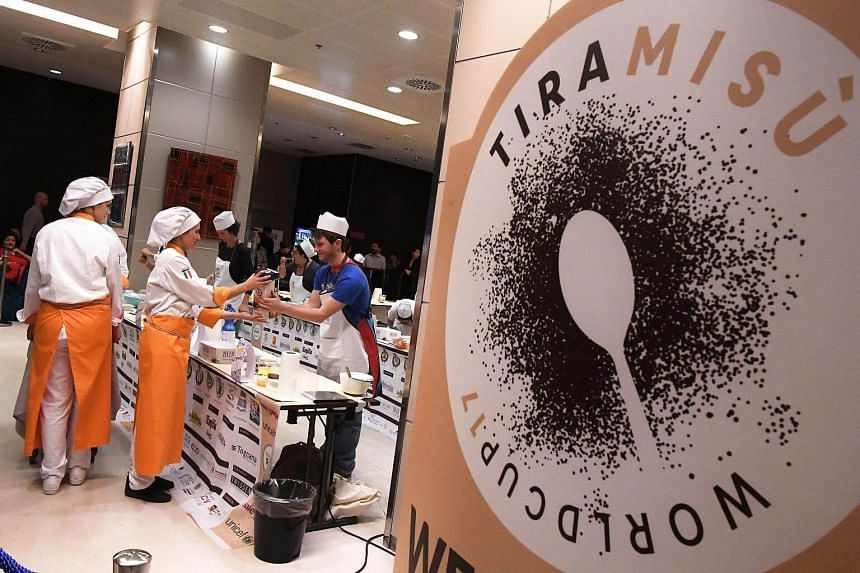 Competitors take part in the first Tiramisu World Cup competition in Treviso.