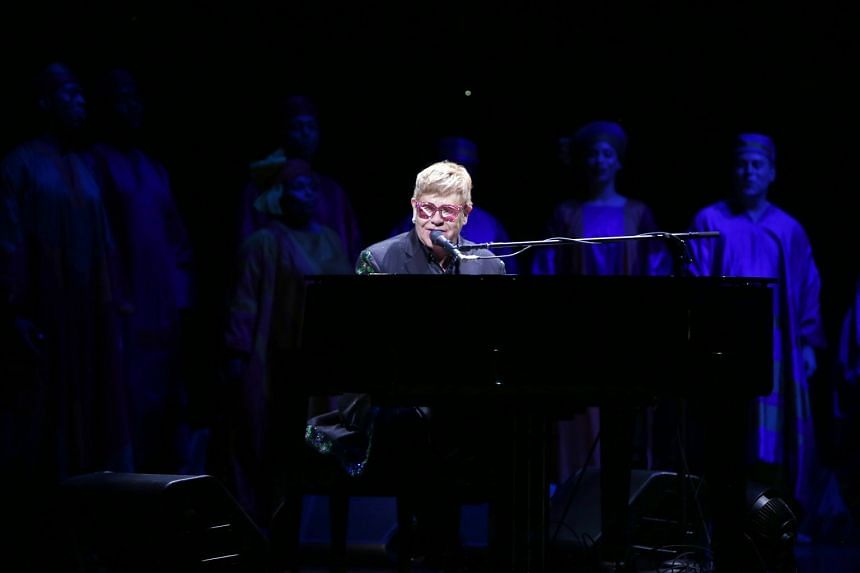 Elton John performing during the 20th anniversary of The Lion King on Broadway at The Minskoff Theatre in New York City on Nov 6, 2017.