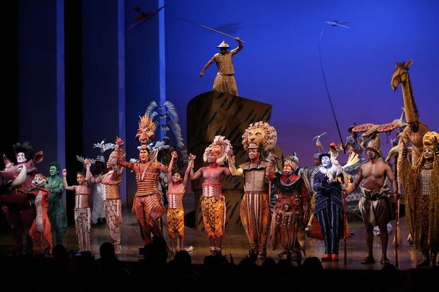 The Curtain Call for the 20th anniversary performance of The Lion King on Broadway at The Minskoff Theatre in New York City on Nov 6, 2017.