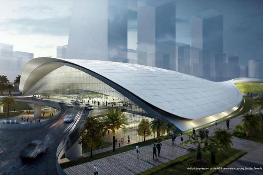 An artist's impression of the Kuala Lumpur-Singapore High Speed Rail Terminal in Jurong East.