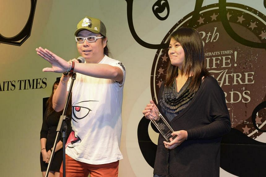 Composers Eric Ng and Xiaohan, whose real name is Lin Kebang, at the 13th Life! Theatre Awards at W Singapore on July 1, 2013.