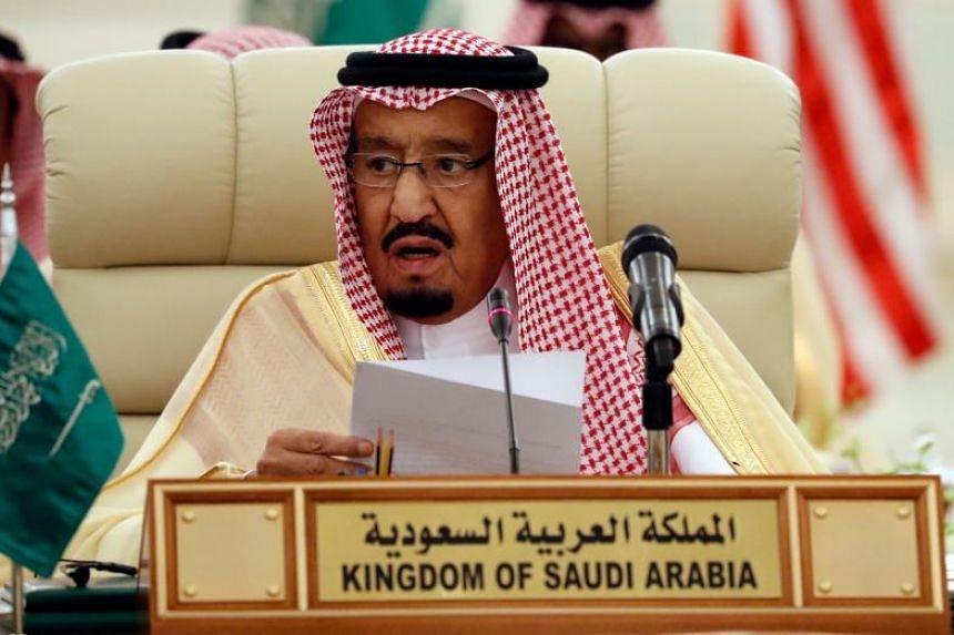Saudi King Salman bin Abdulaziz at a meeting of the Saudi-Iraqi Bilateral Coordination Council in the capital Riyadh on Oct 22, 2017.