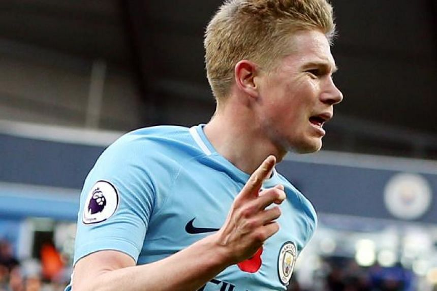 Manchester City's Kevin de Bruyne opening the scoring against Arsenal. The Belgian has been City's standout player this season.