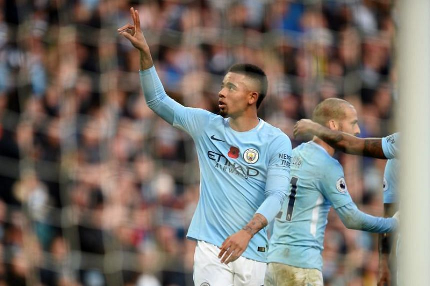Manchester City forward Gabriel Jesus celebrating his side's third goal against Arsenal despite replays showing that team-mate David Silva was in a offside position when he squared the ball to him.