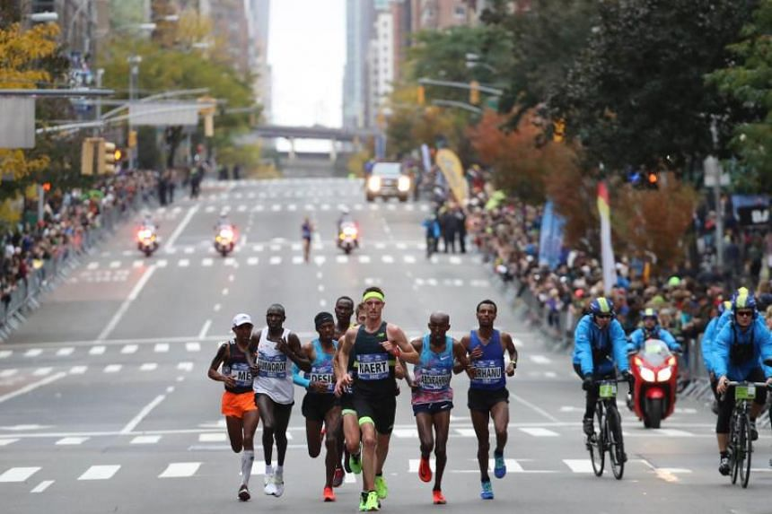 The leaders of the Professional Men's Division make their way during the 2017 TCS New York City Marathon on Nov 5, 2017 in New York City.