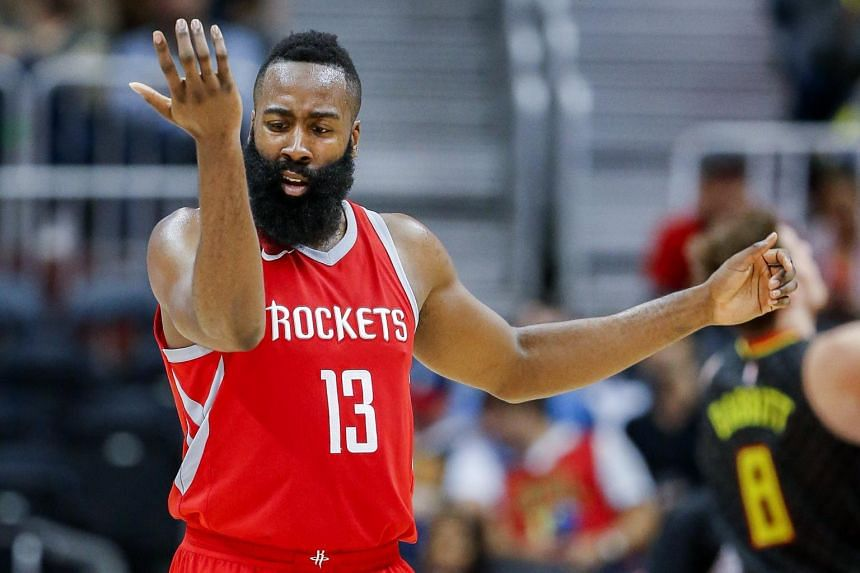 James Harden reacts during the second half of the NBA basketball game between the Houston Rockets and the Atlanta Hawks.
