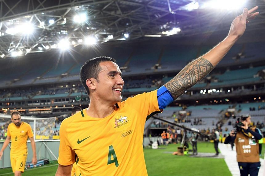 Australia's Tim Cahill waves to the fans after Australia defeated Syria in their 2018 World Cup football qualifying match played in Sydney.