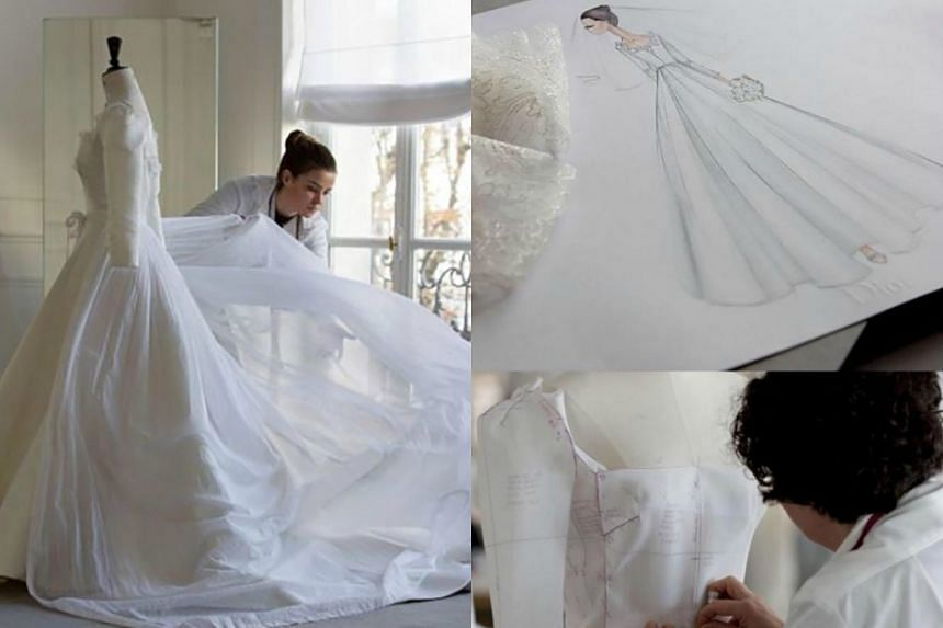 French luxury brand Christian Dior revealed making-of photos of Descendants Of The Sun star Song Hye Kyo's wedding dress through its official Instagram.