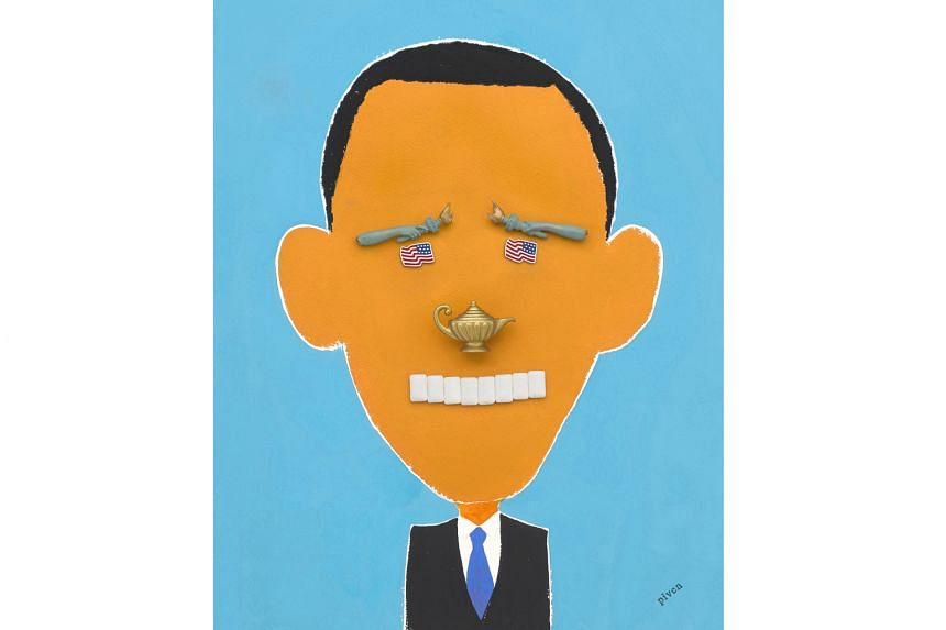 Mixed-media artist Hanoch Piven is best known for his caricatures of well-known people using everyday objects, such as those of US President Donald Trump and Mr Trump's predecessor, Mr Barack Obama (above).