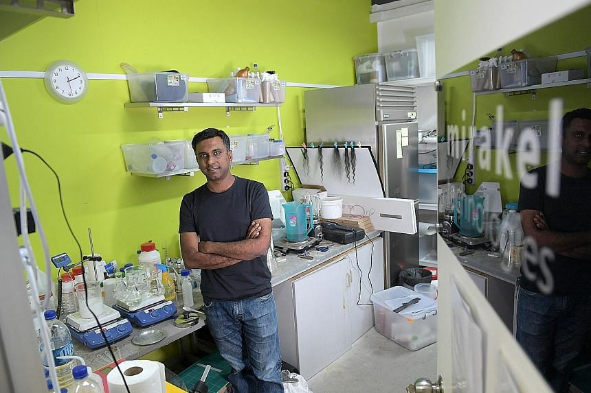 Scientific Innovations Company chief executive Mervyn Fathianathan in the Mirakel lab, where they are trying to use electrochemistry to infuse molecules into the hair. Mirakel is one of the companies the start-up studio has. Dr Fathianathan says he t