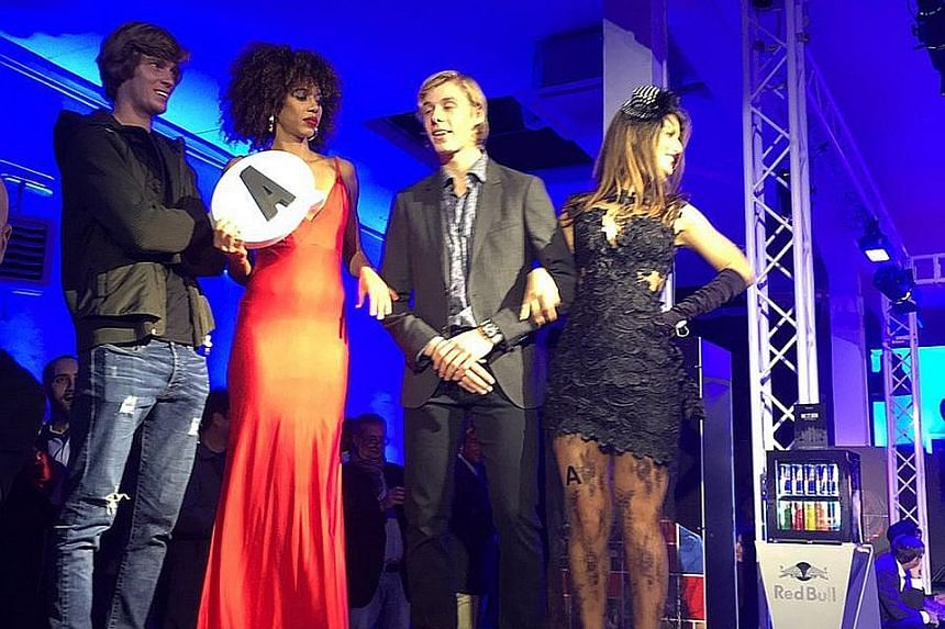 Andrey Rublev (far left) and Denis Shapovalov standing alongside the models they picked that landed them in Group A of the Next Gen ATP Finals. The manner in which the tournament draw was conducted has been roundly slammed.