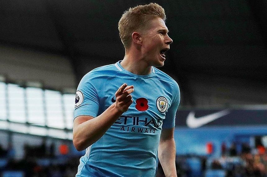 Manchester City's Kevin de Bruyne celebrates after scoring the opening goal in the 3-1 victory against Arsenal last Sunday.