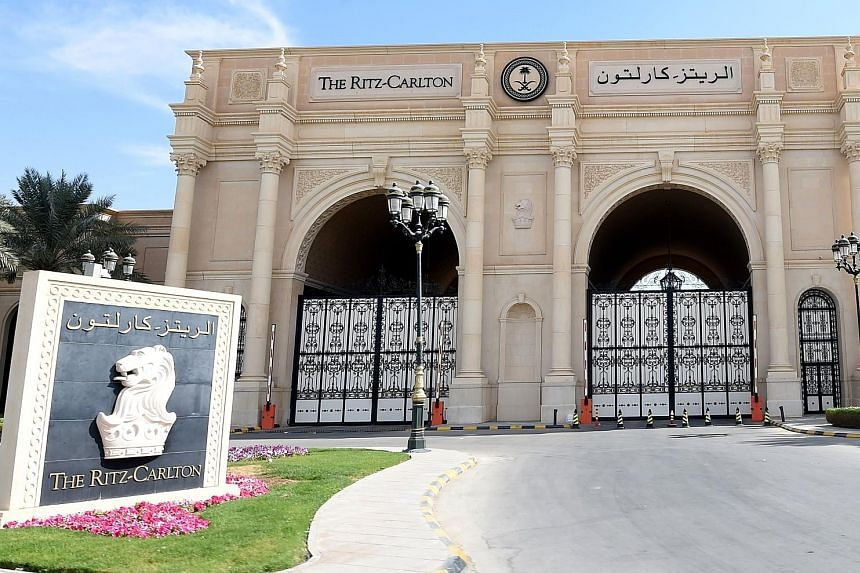 The main gate of the Ritz Carlton hotel in Riyadh is seen closed on Sunday. At least some of those detained in a high-profile, anti-corruption sweep by the Saudi Arabian government were being held at the opulent hotel in the diplomatic quarter of the