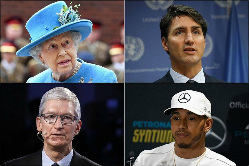 Some of those implicated in the Paradise Papers leak include (clockwise from top left) Britain's Queen Elizabeth II, Canadian Prime Minister Justin Trudeau, Formula One driver Lewis Hamilton and Apple led by CEO Tim Cook.