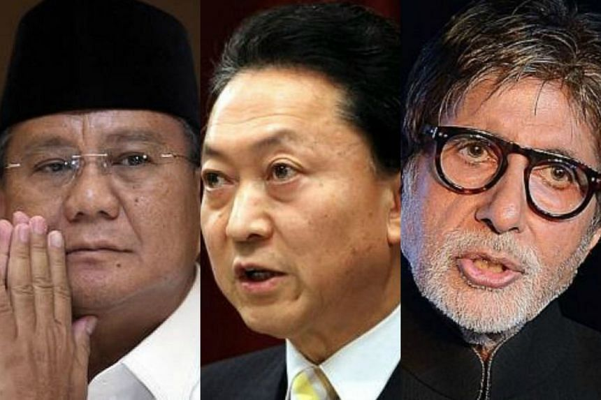 The familiar names flagged by the International Consortium of Investigative Journalists in the latest leak of confidential financial data include (from left) Indonesian opposition coalition leader Prabowo Subianto, former Japanese prime minister Yuki