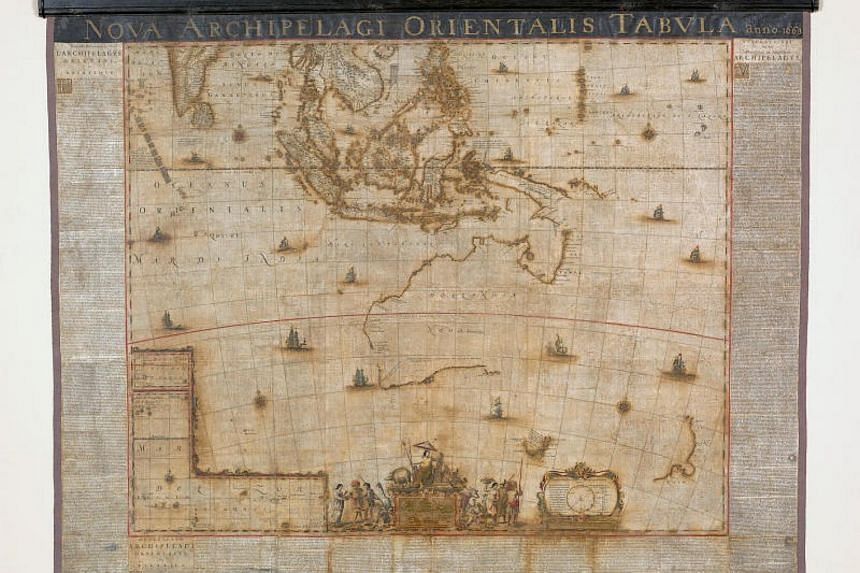 """The map has gone on show at the """"Birth certificate of New Holland"""" display at the new National Library of Australia in Canberra."""
