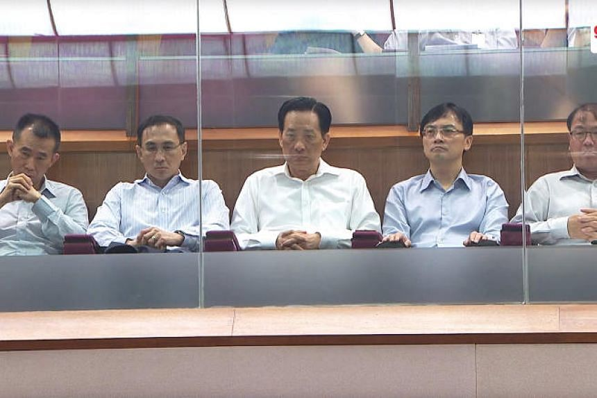 (From left) SMRT Trains chief Lee Ling Wee, SMRT CEO Desmond Kuek, SMRT chairman Seah Moon Ming, LTA chief executive Ngien Hoon Ping and LTA deputy chief executive Chua Chong Kheng in Parliament on Tuesday (Nov 7).