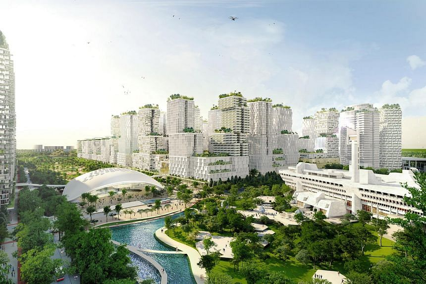 The draft masterplan of the Jurong Lake District (JLD) envisions green areas, homes and businesses around the future High Speed Rail terminus.