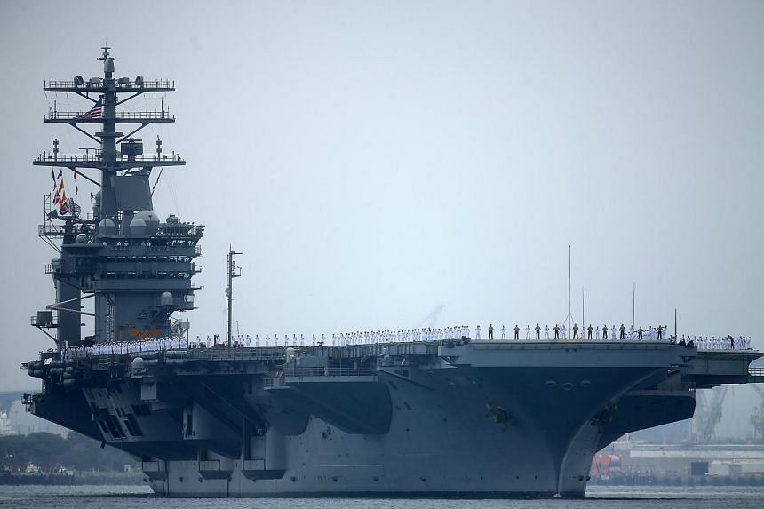 USS Nimitz departing San Diego, on June 5, 2017. USS Nimitz, the Ronald Reagan, the Theodore Roosevelt will exercise together in the Western Pacific in the coming days.