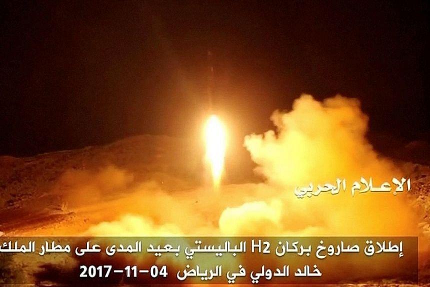 The launch of a ballistic missile aimed at the Riyadh airport last Saturday, according to Yemeni Al Masirah TV station.