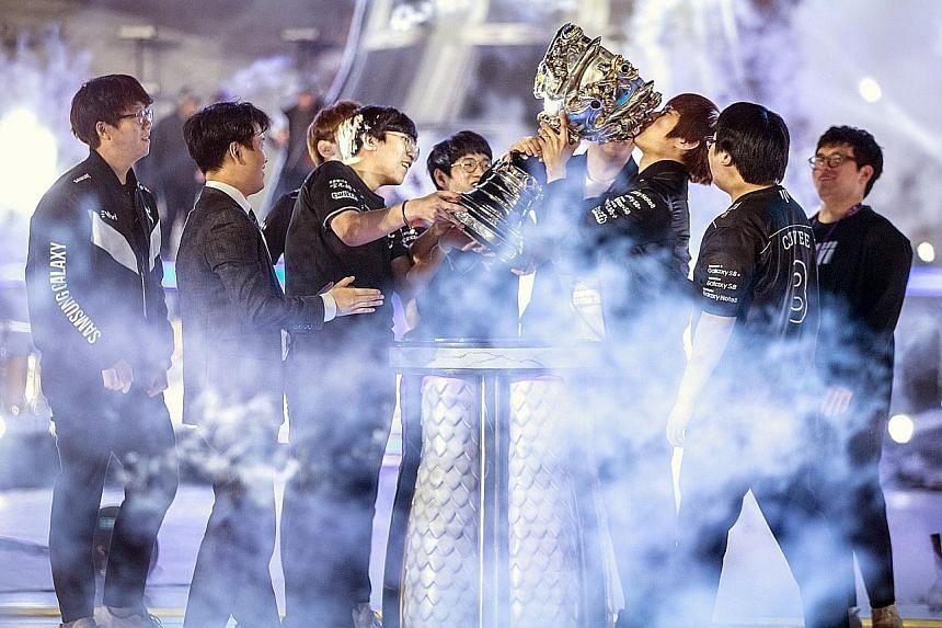League of Legends 2017 World Championship winners Samsung Galaxy savouring their win at Beijing's Bird's Nest stadium last Saturday.