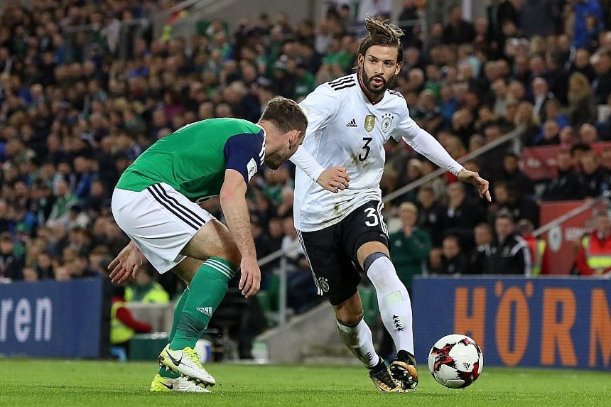 Germany left-back Marvin Plattenhardt (top) will hope to impress manager Joachim Low in the absence of first-choice starter Jonas Hector. The Hertha Berlin defender and RB Leipzig's Marcel Halstenberg (above) are aware that doing well against England