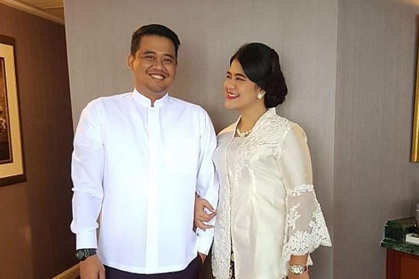 Residents in Solo (left) hold prayer gatherings and parties where they eat tumpeng. Ms Kahiyang Ayu and Mr Bobby Nasution (above) first met in 2015 when they were at the Bogor Agricultural University in Bogor.