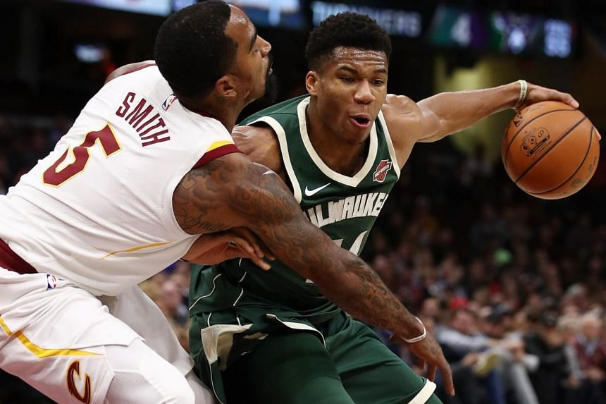 Giannis Antetokounmpo #34 of the Milwaukee Bucks drives against JR Smith #5 of the Cleveland Cavaliers during the first half at Quicken Loans Arena on Nov 7, 2017 in Cleveland, Ohio.