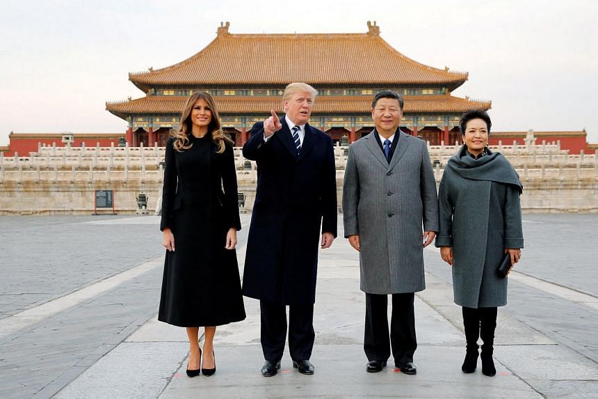 US President Donald Trump and US First Lady Melania Trump visit the Forbidden City with China's President Xi Jinping and China's First Lady Peng Liyuan in Beijing, China on Nov 8, 2017.