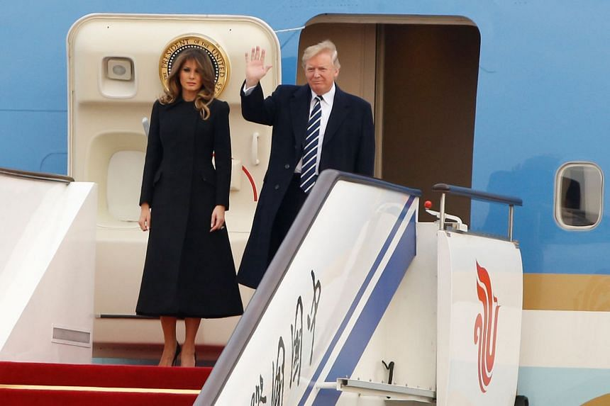 US President Donald Trump and First Lady Melania arrived in Beijing on Nov 8, 2017 for a three-day visit.
