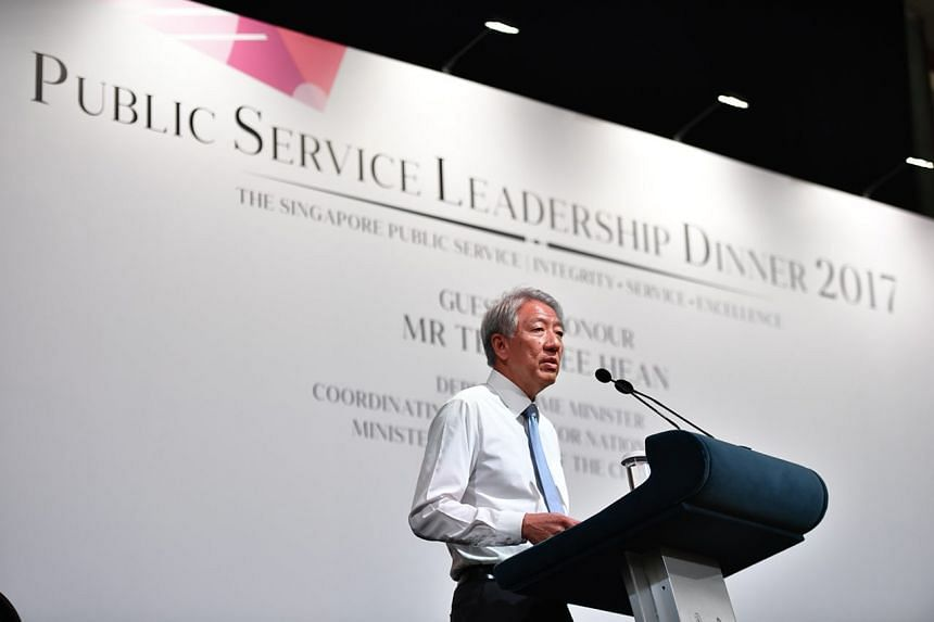 """Deputy Prime Minister Teo Chee Hean called on public servants to find better ways to deliver public services, and """"be prepared to disrupt ourselves before we get disrupted""""."""