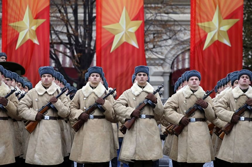 Russian soldiers in historical uniforms taking part in a military parade in the Red Square in Moscow, on Nov 7, 2017.