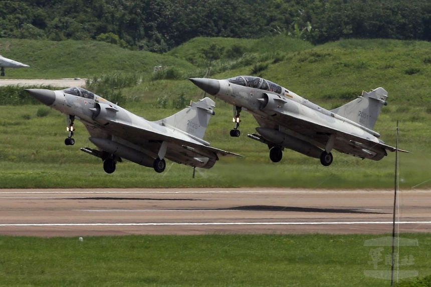 Two Taiwan Mirage 2000-5 jets taking off on a training flight on June 18, 2017. A Taiwanese Mirage on a training flight off the island's north-east fell off the radar on Nov 7, 2017.