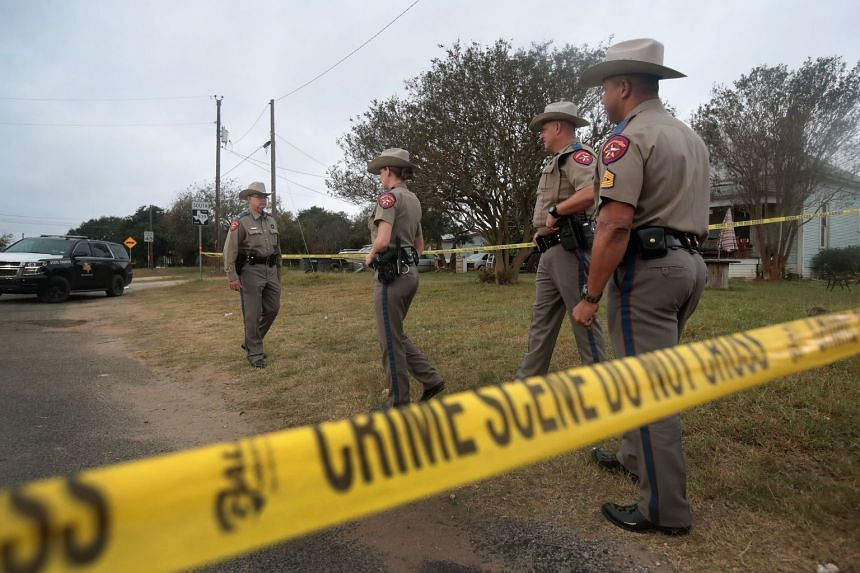 Law enforcement officers conducting their investigation into the shooting at the First Baptist Church of Sutherland Springs, on Nov 7, 2017.