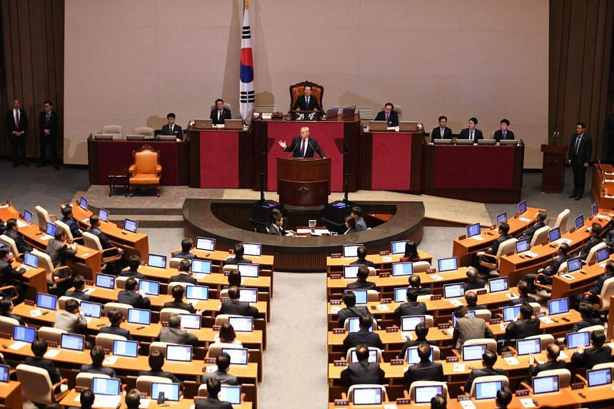US President Donald Trump addresses the National Assembly in Seoul on Nov 8, 2017.