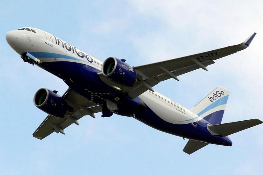 An IndiGo Airlines Airbus A320 aircraft takes off in Colomiers, France.