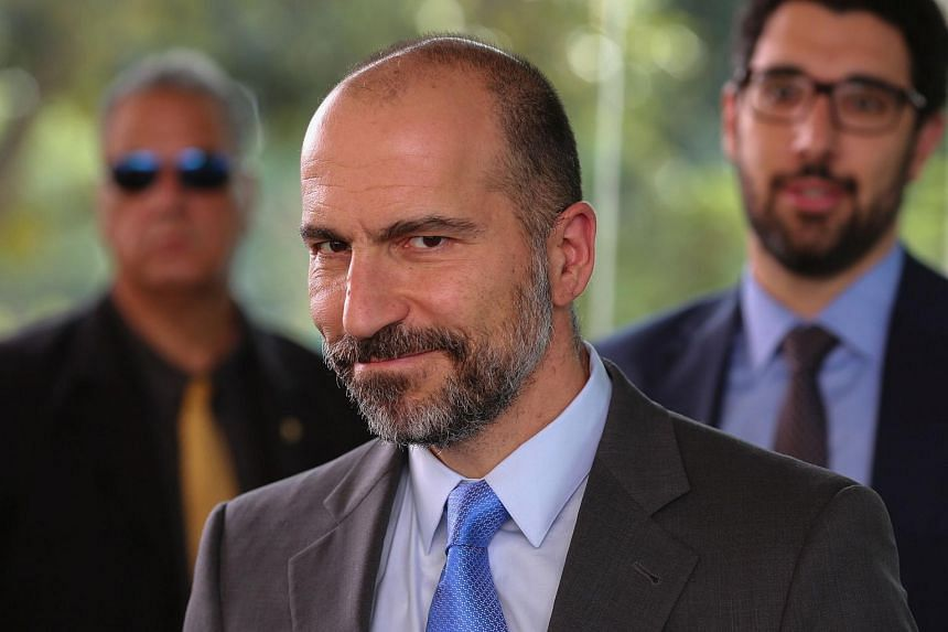 """""""The culture and approach that got Uber where it is today is not what will get us to the next level,"""" Uber chief Dara Khosrowshahi (right) said in a message to workers shared in an online post."""