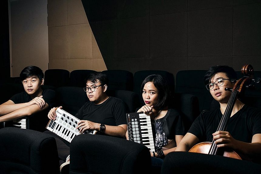 Home-grown electronic band Canvas Conversations (comprising, from far left, Jeff Hue, Lee Bing Xiang, Namie Rasman and Vick Low) and local singer-songwriter Ferry (above) will headline a show together for the first time.