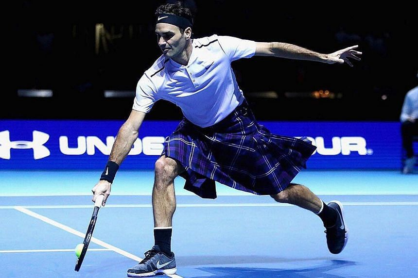 """Above: Roger Federer in a kilt, which he wore briefly on court during the exhibition match. He tweeted the picture with the caption """"Kilterer""""."""