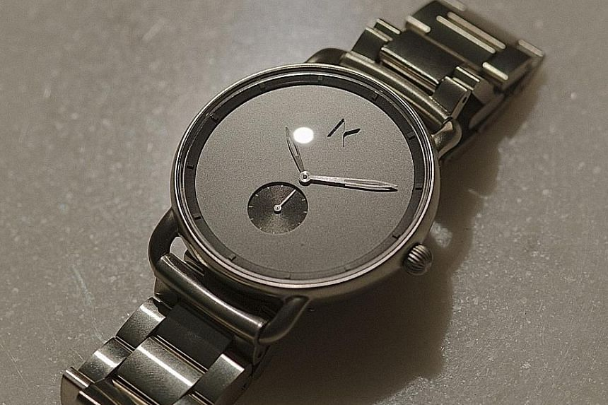 A prototype model similar to the Mvmt Gotham watch, which sells for US$180 (S$245) with a metal bracelet.
