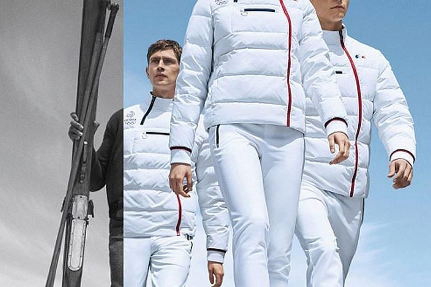 The closing ceremony styles by Ralph Lauren for Team USA (left) are no-fuss and low-kitsch while Lacoste has gone for aerodynamic atonal looks (below) for the French team.