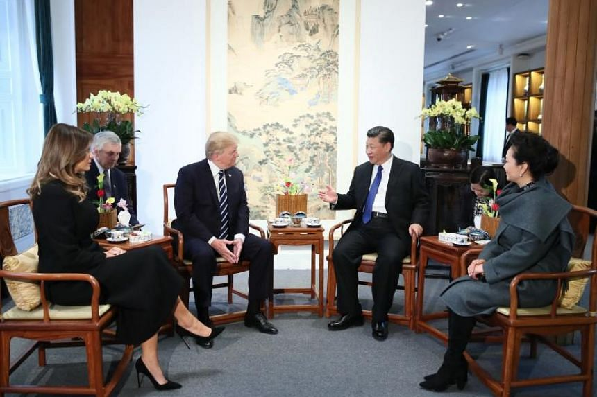 Chinese President Xi Jinping and his wife Peng Liyuan, and US President Donald Trump and first lady Melania Trump had afternoon tea in Baoyun Building of the Palace Museum, or Forbidden City, in Beijing on Nov 8, 2017.