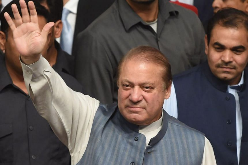 Former Prime Minister Nawaz Sharif during a workers' convention in Lahore, Pakistan on Oct 4, 2017.