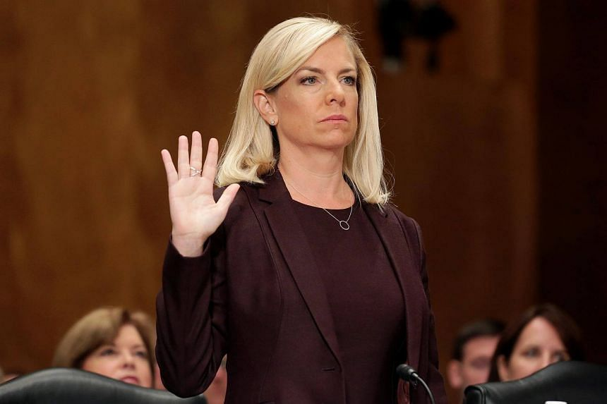 Kirstjen Nielsen is sworn in before testifying to the Senate Homeland Security and Governmental Affairs Committee on her nomination to be secretary of the Department of Homeland Security in Washington.